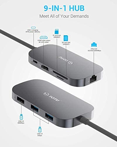 TOTU USB C Hub9In1 Type C Hub with Ethernet Port 4K USB C to HDMI 2 USB 30 Ports 1 USB 20 Port SDTF