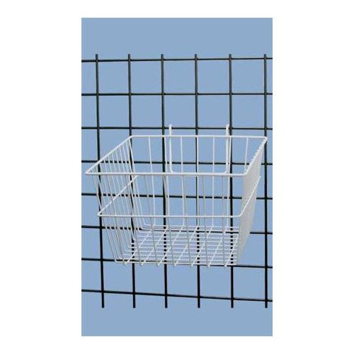 White Powder Coat Finish Mini-grid Basket 12''l X 12''w X 8''d