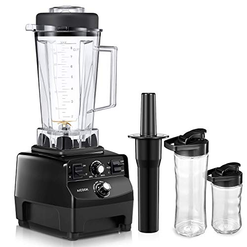 Aicook Professional Countertop Blender, Commercial Blender with 1450-Watt Base, 70oz Total Crushing Pitcher and 2 Portable Bottles for Frozen Drinks and Smoothies, with Recipe Booklet
