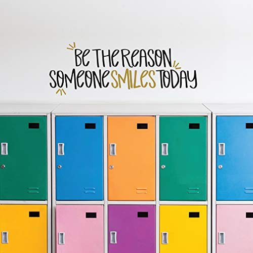 Paper Riot Co. Wall Decor - Inspirational Quote. Peel and Stick Wall Decals - Easy to Remove Black and Gold Vinyl Quote - Be The Reason Someone Smiles Today. DIY Decoration. (Be The Reason Someone Smiles Today Quote)