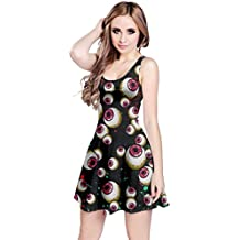 CowCow Womens Halloween Spider Witch Bats Pumpkin Mummy Ghost Sleeveless Skater Dress, XS-5XL