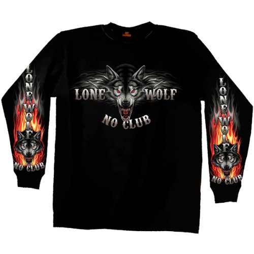 Lone Wolf No Club Biker Long Sleeve Double Sided T-Shirt (Black, XX-Large)