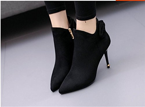 KHSKX-Sweet Bow Tie Pointed Boots Winter New Satin Side Zipper Detail With 9Cm High-Heeled Black Boots Naked Boots Female 38 cgWBVJUNHi