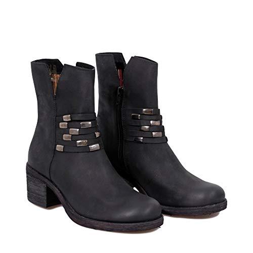 Avec Giani Chaussures Nubuck Femme Véritable Noir Bottes Talons B284 En Amour Hauts Felmini Tomber xX6wF6q