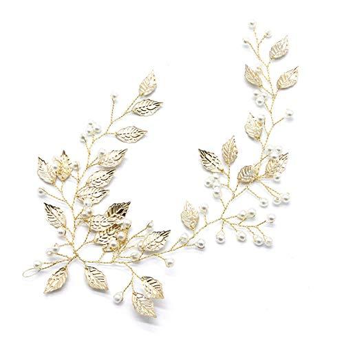 ( Orcbee  _Women Golden Alloy Leaf Bridal Headdress Beaded Wedding Hair Accessories)