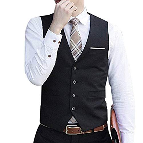 Élégant De Business Schwarz Ajusté Targogo Retro Pour Costume Décontracté Gilet Hommes Serré 5xqTF80