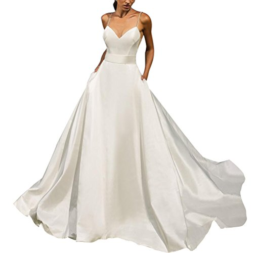 beaded back wedding dress with bow - 1