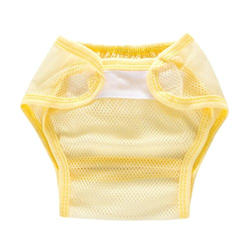 Price comparison product image Iuhan Baby Infant Solid Gauze ventila Cloth Diapers Reusable Nappy Snap Nappy (1-3Years,  Yellow)