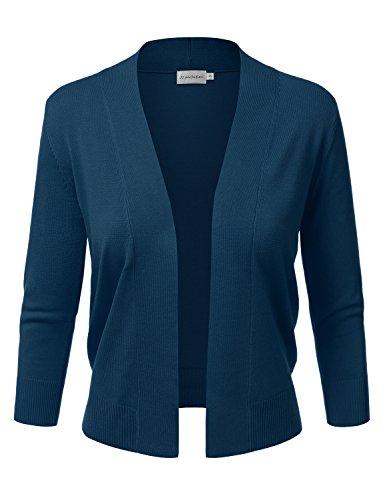 (JJ Perfection Women's Basic 3/4 Sleeve Open Front Cropped Cardigan Teal)