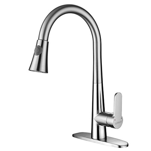 Kitchen Faucet,Brushed Nickel Kitchen Sink Faucets with Sprayer Lead Free Brass LUTAVOY D0651 NSF-61 NSF-372 Certified,cUPC AB1953 Compliant by LUTAVOY