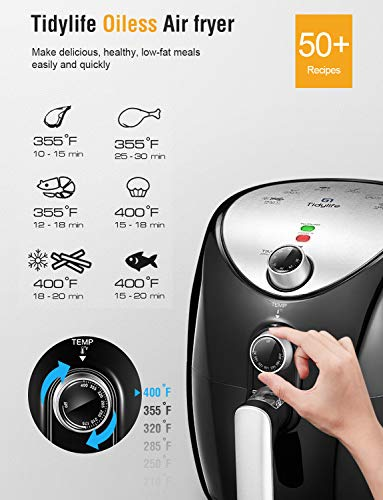 Air Fryer, Tidylife 4.5 Qt AirFryerXL with Smart Time & Temperature Control, 1500W Nonstick Basket HotAirFryer with 50+ Recipes by Tidylife (Image #2)