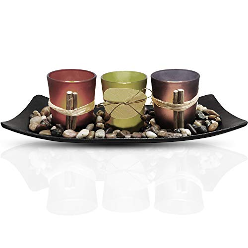 Urban Deco Natural Candlescape Set 3 Decorative Candle Holders, Rocks and Tray Tea Light Candle Holder Set Ideal Gift for Spa Wedding Party (Candle Holder Set - 2) ()