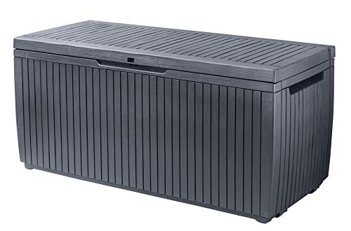 Keter 243547 Springwood 80 Gallon Resin All Weather Deck Box, Grey