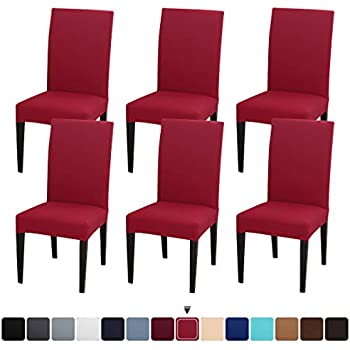 JQinHome 6 Pcs Dining Chair Slipcover,High Stretch Removable Washable Chair Seat Protector Cover for Home Party Hotel Wedding Ceremony (Red)