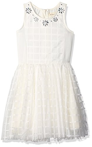 Price comparison product image BTween Big Girls' Windowpane Crochet Skater Dress with Embellished Jewel Neck, White, 10