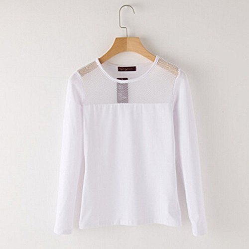 Spritech(TM) Women's Graceful Solid Color Round-neck Casual T-shirt Long Puff Sleeve Girl's Casual Shirt White