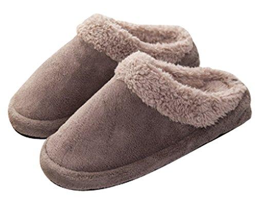 Cattior Womens Foderato Di Pelliccia Pantofole Calde Da Donna Al Coperto Pantofole Morbide Grigie