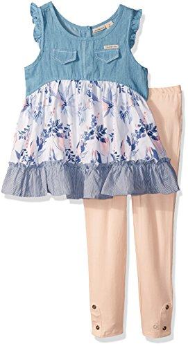 Calvin Klein Big Girls 2 Pieces Denim Tunic Pant Set, Blue/Pink, 8/10 ()