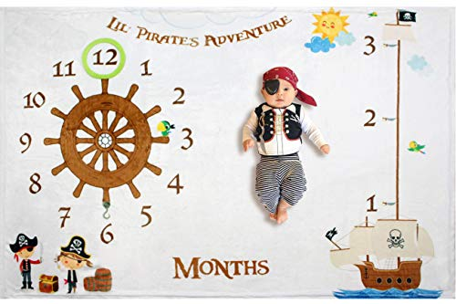 Lil Pirate Adventure Baby Monthly Milestone Blanket Backdrop Set for Boys & Girls | Large 60