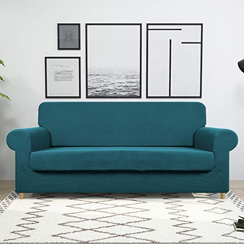 Large Sofa Cover with Separate Seat Cushion Cover(2 Pieces Set) - Water Repellent,Knitted Jacquard,High Stretch - Living Room Couch Slipcover/Protector/Shield for Dog Cat Pets(4 Seater Sofa,Teal) by DEZENE (Image #2)