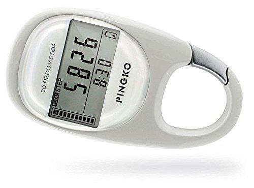 PINGKO 3D Carabiner Walking Pedometer Best Activity Fitness Tracker-White -
