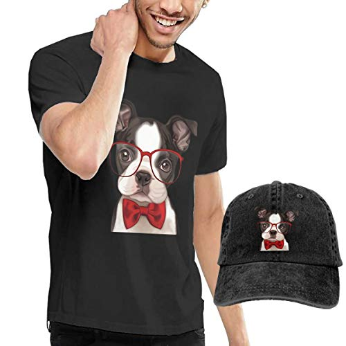 Pokuisnb Casual Men's T Shirt and Caps Combination Black for Sports Boston Terrier -