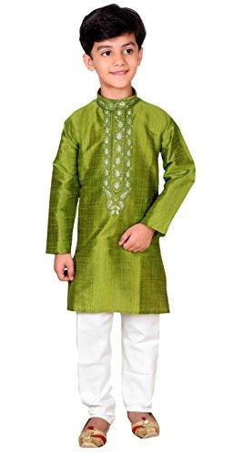Boys Kurta Pajama Wedding Mehendi party outfit Sherwani 934 (6 (6 yrs), Moss Green) by Desi Sarees