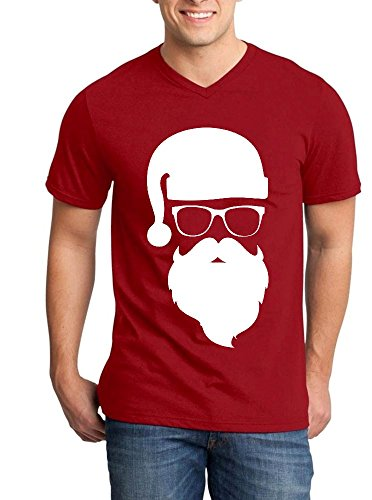Shop4Ever White Santa Claus with Sunglasses Men's V-Neck T-shirt Christmas Shirts Large Red - Sunglasses Neck Shirt V