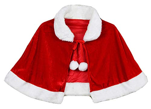 Santa Claus Cape (KOESON Women Christmas Velvet Shawl/Cape Mrs. Claus Santa Xmas Cosplay Costumes for Masquerade Party-Adult)