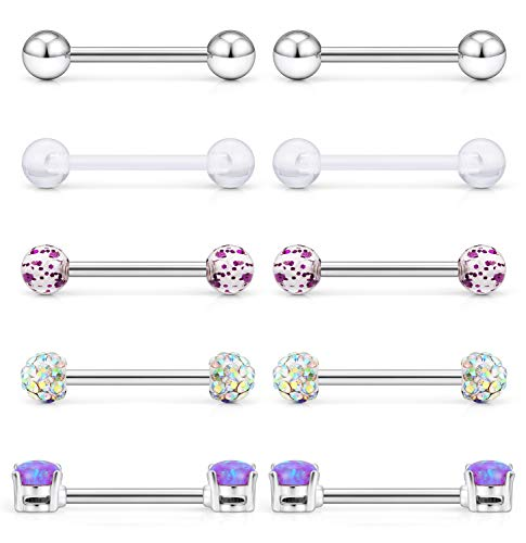 Cisyozi 5 Pairs 14G Stainless Steel Purple Opal Nipple Tongue Shield Ring Barbell Body Piercing Jewelry Retainer 9/16 Inch 14mm