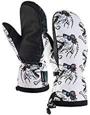 Tofern Men Women Windproof Waterproof Soft Skiing Mittens with Waist Leashes Winter Warm Snow Cold Weather Outdoor Snowboarding Gloves