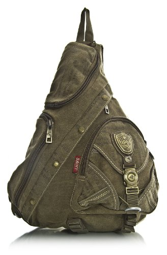 Khaki Handbag Canvas Body Gym Travel Cross Mens Shop Big Messenger Rucksack Monostrap Cycling Backpack RS1xOWqnwd