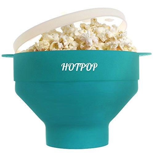 - The Original HOTPOP Microwave Popcorn Popper, Silicone Popcorn Maker, Collapsible Bowl BPA Free & Dishwasher Safe (Aqua)