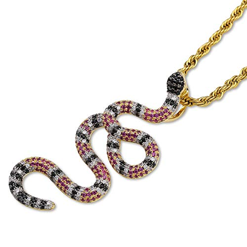 GUCY Gold Plated Coral Small Snake Serpent Pendant Necklace Dainty Snake Animal Necklace for Women Girls (Purple)