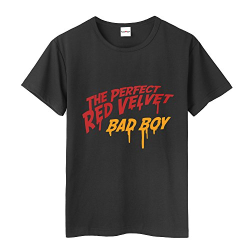 Fanstown Kpop RED Velvet The Perfect Red Velvet, Bad Boy, Peek-A-Boo Tshirt Fashion Hiphop with pin Button Badge (Black A, m) by Fanstown