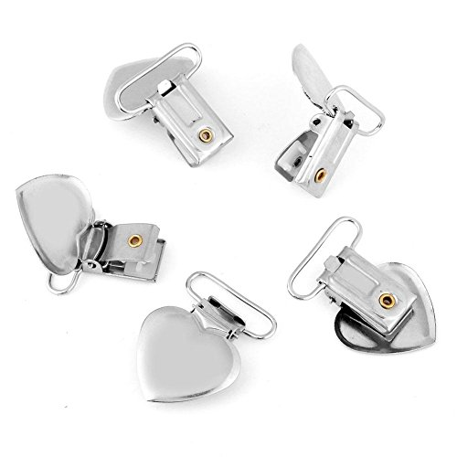 10 Pcs Pacifier Holder Suspender Clips, Metal Heart Shape Clip for Making Pacifier Holders Bib Toy Holder Clips Silver by Semme (Image #3)
