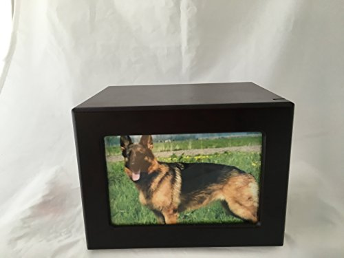 Pet Urn Peaceful Pet Memorial Keepsake Urn,Photo Box Pet Cremation Urn,Dog Urn,Cat Urn ,Small Animal Urn, Size,Large, Color,Cherry, 75 cu.in