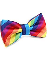 Mens Striped Pre-tied Bow Ties,Rainnbow Adjustable Tuxedo Bowtie For Boy With Multiple Colors,By Fortunatever(11'-18')