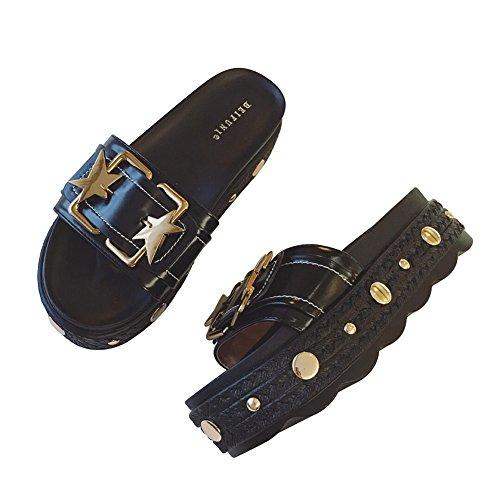 LIXIONG zapatillas Hembra verano Fondo grueso Fondo de pastel de pino Antideslizante Resistente al desgaste Diestro zapato, Altura del talón 5cm, 2 colores -Zapatos de moda ( Color : Negro , Tamaño : Negro