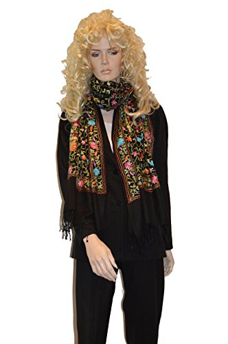 Beaded Embroidered Shawl Scarf Wrap (Cashmere Pashmina Group- Shawl/Scarf/Wrap/Embroidery Beaded Pashmina Shawl (Black All Over)