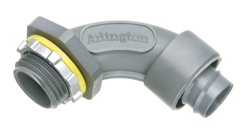 Arlington NMSC9050-1 90 Degree Screw-On Non-Metallic Liquid-Tight Connector, 1/2 Inch