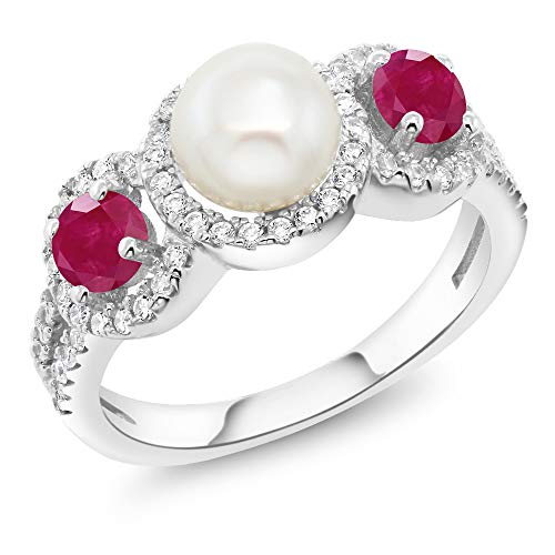Pearl Ruby And - Gem Stone King 1.40 Ct Round Cultured Freshwater Pearl Red Ruby 925 Sterling Silver Ring (Size 8)