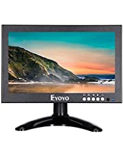 Eyoyo 8 inch HDMI LCD Monitor, Portable 1280x720 16:9 IPS Metal Housing Screen Support HDMI/VGA/AV/BNC Input with Wall Bracket&Remote Control for PC, CCTV,Security Camera,Raspberry pi Computer