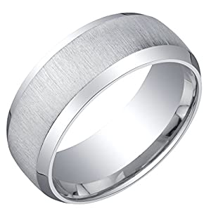Mens Sterling Silver Beveled Edge Wedding Ring Band in Brushed Matte 8mm Comfort Fit Sizes 8 to 14