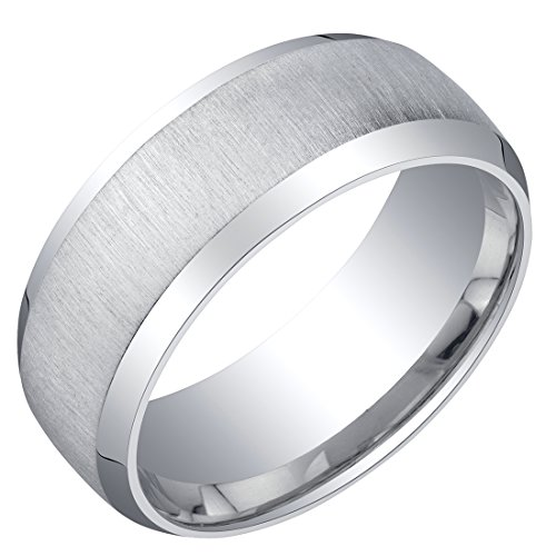 Silver Beveled Edge (Mens Sterling Silver Beveled Edge Wedding Ring Band in Brushed Matte 8mm Comfort Fit Size 14)