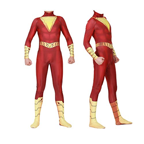 Shazam Captain William Billy Baston Cosplay Costumes Unisex Spandex Onesie 3D Zentai Suit Halloween Cosplay Bodysuit for Adult and Kids (Kids-L) Red]()