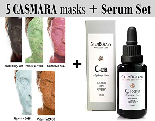 CASMARA Gold Mask & Stem Cell Premium Package : 5 Anti Aging Masks Sets with 1 Mixing Spatula and 1 STEMBOTANY C-Booster Stem Cell Face Serum Pack