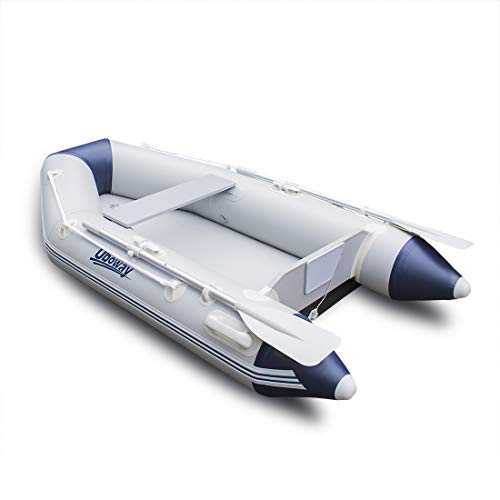 - UBOWAY 2 Person Inflatable Dinghy/Boat/Raft Fishing Raft Set with Inflatable Bottom Floor and Alumium Oars,Support Install Engine