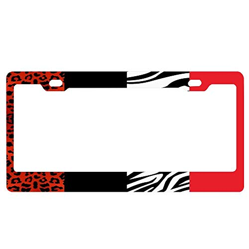 (ASLGlicenseplateframeFG OneHoney Decorative Red Leopard and Zebra Animal Print Personalized License Plate with Your Name Custom Tag Sign 6 x 12 Inch-Made of Aluminum)