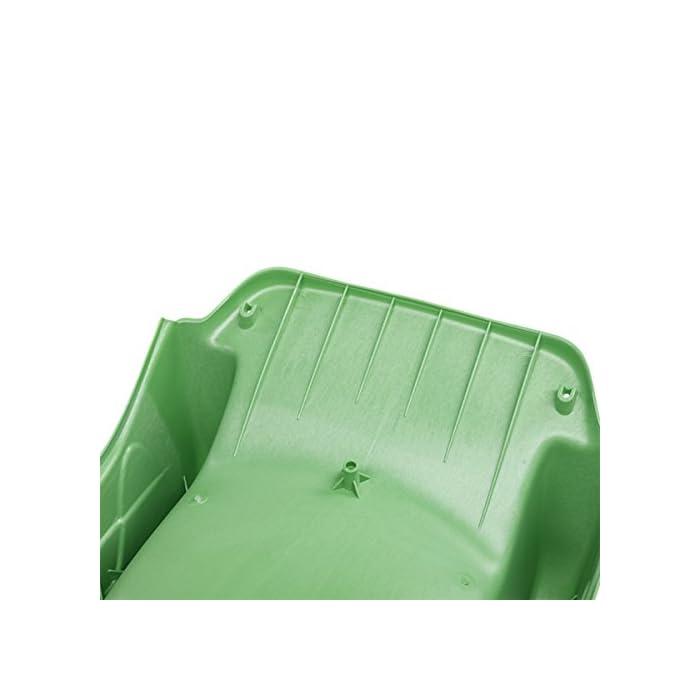 41oPYySFVfL Tobogán de polietileno de alta densidad (HDPE) homologado para uso doméstico y para exterior. Tobogán con unas características de deslizamiento supremo gracias al proceso de producción especializada de modelo por inyección. El tobogán tiene un conector en la parte trasera superior para poder fijar una manguera y utilizarlo como tobogán de agua. Para ser instalado a una altura de 1,5 m Para fijar con 2 tornillos con cabeza avellanada y de un diámetro de 5 a 6 mm (no incluidos) Disponible en color verde claro